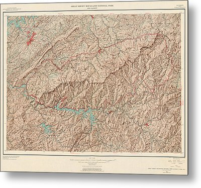 Vintage Map Of Great Smoky Mountains National Park - Usgs Topographic Map - 1949 Metal Print by Blue Monocle