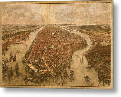 Vintage Map Of Manhattan New York City Nyc Birds Eye View Schematic Circa 1865 On Worn Distressed Canvas Metal Print by Design Turnpike
