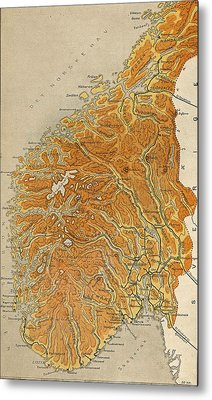 Vintage Map Of Norway - 1914 Metal Print by CartographyAssociates