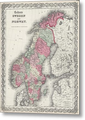 Vintage Map Of Norway And Sweden - 1865 Metal Print by CartographyAssociates