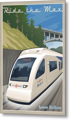 Vintage Max Light Rail Travel Poster Metal Print by Mitch Frey