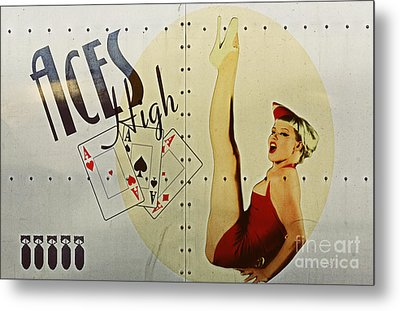 Vintage Nose Art Aces High Metal Print by Cinema Photography