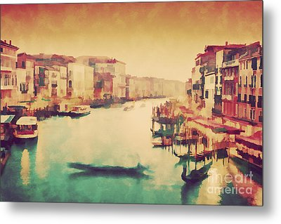 Vintage Painting Of Venice, Italy. Gondola Floats On Grand Canal Metal Print by Michal Bednarek