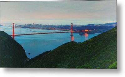 Vintage Panorama Of The Golden Gate Bridge From The Marin Headlands - San Francisco California Metal Print by Silvio Ligutti