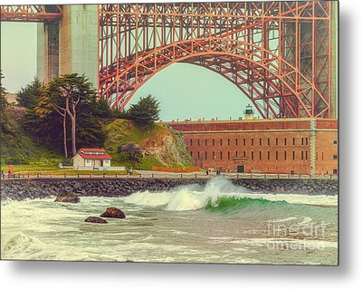 Vintage Photograph Of Fort Point And Golden Gate Bridge - San Francisco California Metal Print by Silvio Ligutti