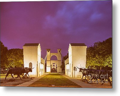 Vintage Photograph Of The Waco Suspension Bridge And Chisholm Trail At Dawn - Downtown Waco - Texas Metal Print by Silvio Ligutti