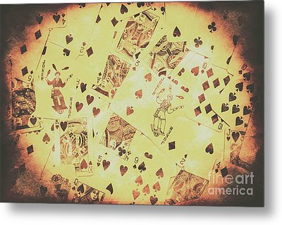 Vintage Poker Card Background Metal Print by Jorgo Photography - Wall Art Gallery