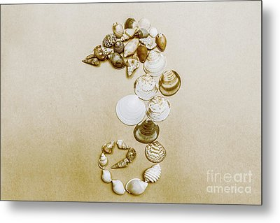 Vintage Seahorse Made Of Sea Shells Metal Print by Jorgo Photography - Wall Art Gallery