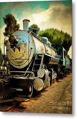 Vintage Steam Locomotive 5d29138brun Metal Print by Home Decor