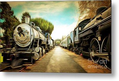 Vintage Steam Locomotive 5d29143brun Metal Print by Home Decor
