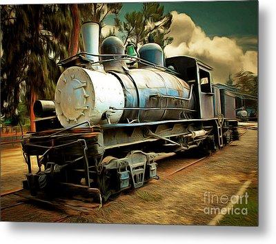 Vintage Steam Locomotive 5d29172brun Metal Print by Home Decor