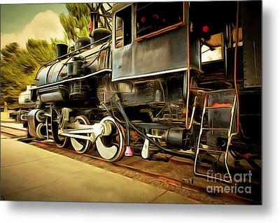 Vintage Steam Locomotive 5d29222brun Metal Print by Home Decor