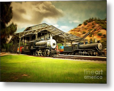Vintage Steam Locomotive 5d29279brun Metal Print by Home Decor