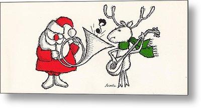 Vintage Style Of Santa Playing Metal Print by Gillham Studios