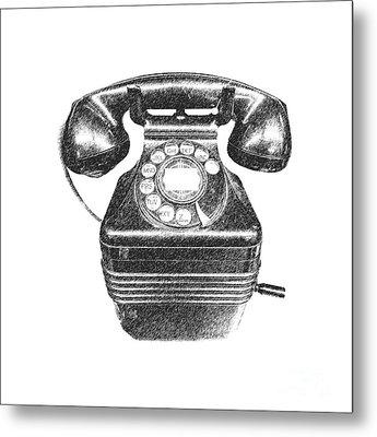 Vintage Telephone Tee Metal Print by Edward Fielding