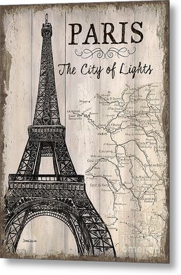 Vintage Travel Poster Paris Metal Print by Debbie DeWitt