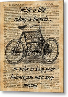 Vintage Tricycle Antique Bicycle Motivational Quote Retro Dictionary Art Metal Print by Jacob Kuch