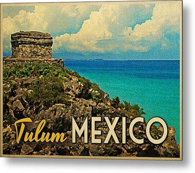 Vintage Tulum Mexico Metal Print by Flo Karp