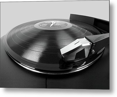 Vinyl Lp And Turntable Metal Print by Jim Hughes