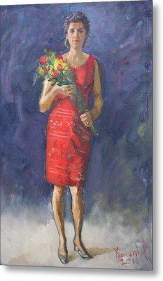 Viola In Red Metal Print by Ylli Haruni