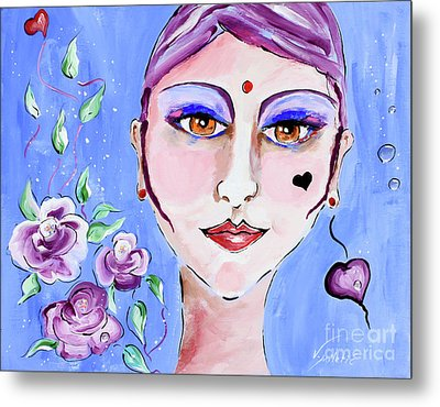 Violeta - Woman Face Art By Valentina Miletic Metal Print by Valentina Miletic
