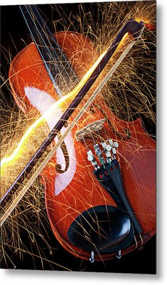 Violin With Sparks Flying From The Bow Metal Print by Garry Gay