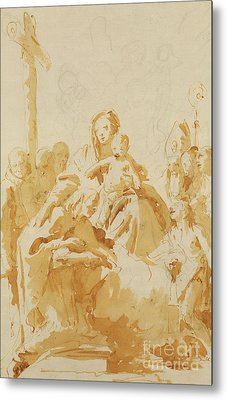 Virgin And Child Adored By Bishops, Monks And Women Metal Print by Tiepolo