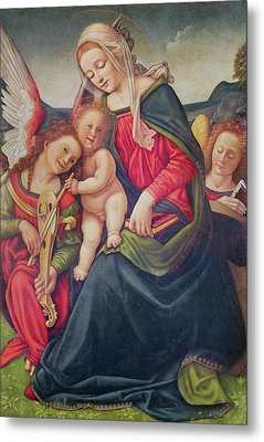 Virgin And Child And Angel Musicians  Metal Print by Piero di Cosimo