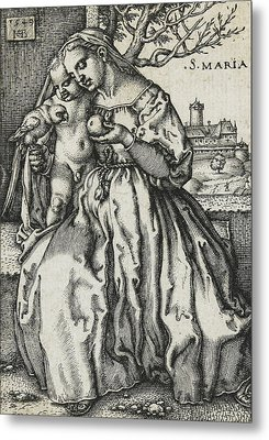 Virgin And Child With A Parrot Metal Print by Hans Sebald Beham