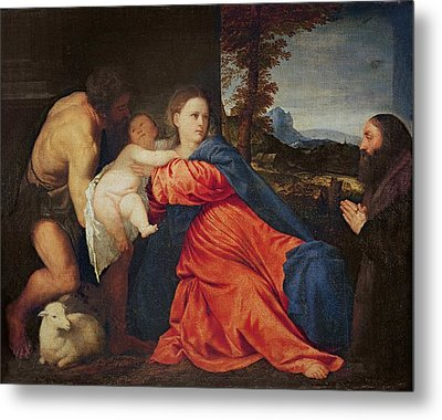Virgin And Infant With Saint John The Baptist And Donor Metal Print by Titian