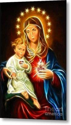 Virgin Mary And Baby Jesus Sacred Heart Metal Print by Pamela Johnson