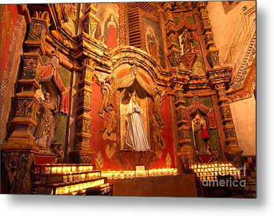 Virgin Mary Statue Candles Mission San Xavier Del Bac Metal Print by Thomas R Fletcher