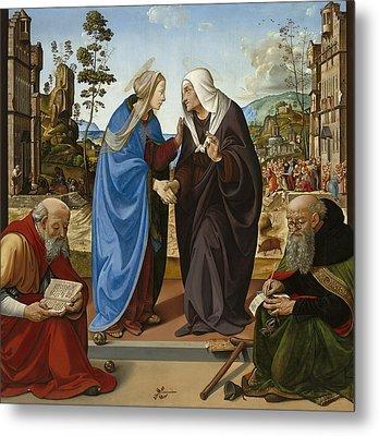 Visitation With Saint Nicholas And Saint Anthony Metal Print by Piero di Cosimo