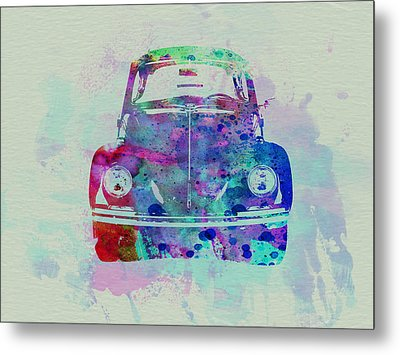 Vw Beetle Watercolor 2 Metal Print by Naxart Studio