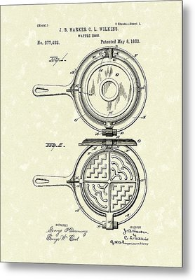 Waffle Iron 1883 Patent Art Metal Print by Prior Art Design
