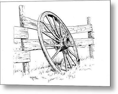 Wagon Wheel Metal Print by Bob Hallmark