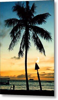 Waikiki Sunset Metal Print by DJ Florek