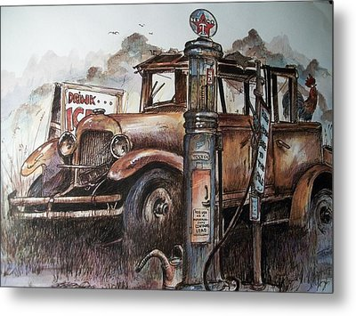 Waiting At The Pump Metal Print by Dick  Stanton