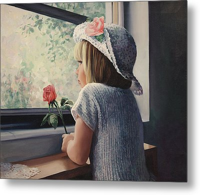 Waiting For Daddy Metal Print by Laurie Hein