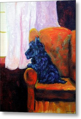 Waiting For Mom - Scottish Terrier Metal Print by Lyn Cook