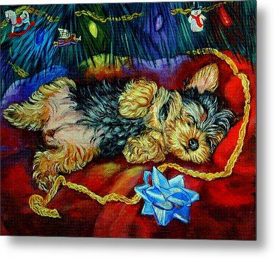 Waiting For Santa Yorkshire Terrier Metal Print by Lyn Cook