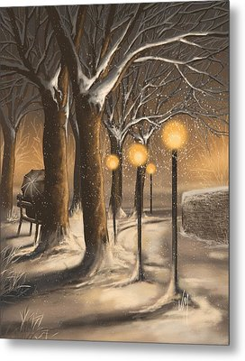 Waiting In The Snow Metal Print by Veronica Minozzi