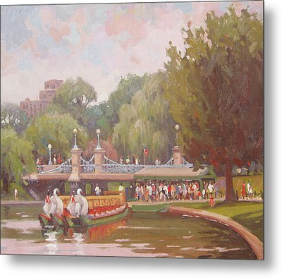 Waiting To Ride The Swans Metal Print by Dianne Panarelli Miller