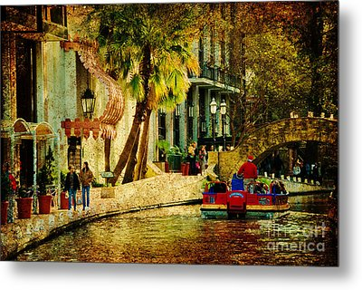 Walking Along The Riverwalk Metal Print by Iris Greenwell