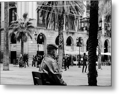 Walking In Barcelona - Plaza Real  Metal Print by Andrea Mazzocchetti