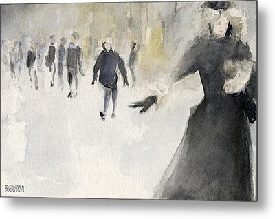 Walking In The Snow Metal Print by Beverly Brown Prints