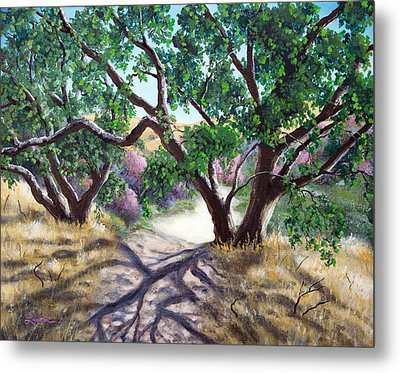 Walking Through The Oak Trees On A Sunny Day Metal Print by Laura Iverson