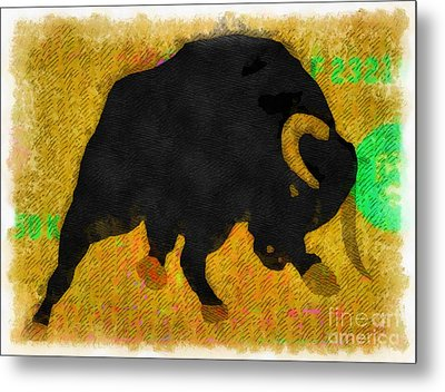 Wall Street Bull Market Series 2 Metal Print by Edward Fielding