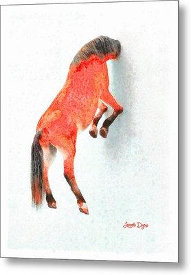 Walled Red Horse - Da Metal Print by Leonardo Digenio