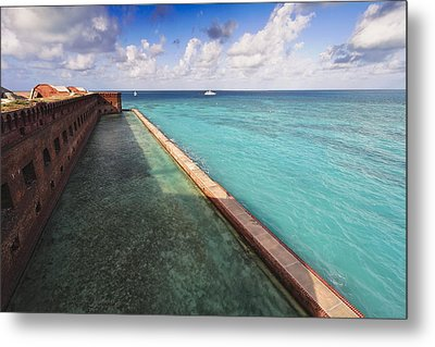 Walls And Moat Of  Fort Jefferson Metal Print by George Oze